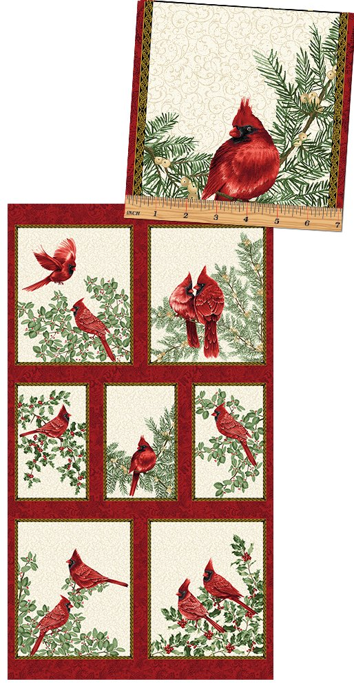 A Festive Season - Cardinal Panel - from Benartex