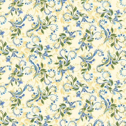 Hydrangea Blue - Colorful Scroll in Yellow - from Benartex