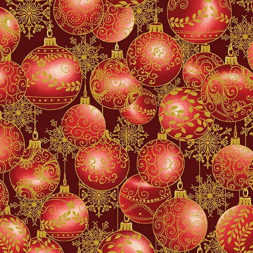 A Festive Season - Hanging Ornaments in Red - from Benartex
