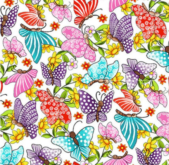 Pixie Patch, Butterflies on a White Background, Blank Quilting