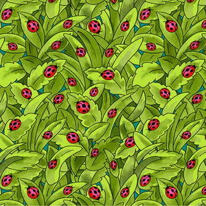 Pixie Patch Ladybugs on a Green Background, Blank Quilting