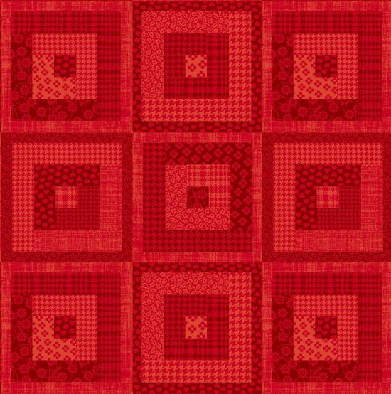 Pieceful Gathering - Log Cabin in Red - from Studio e
