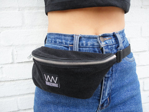 BLACK DENIM FANNY PACK