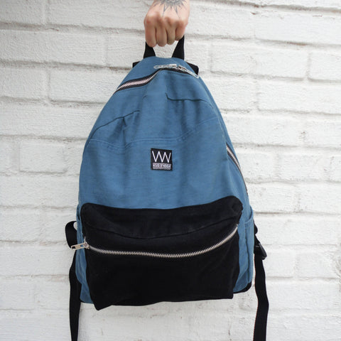 TWO-TONED DENIM BACKPACK
