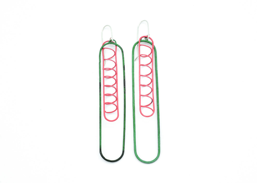 Container Earrings Link 2 Green and Pink