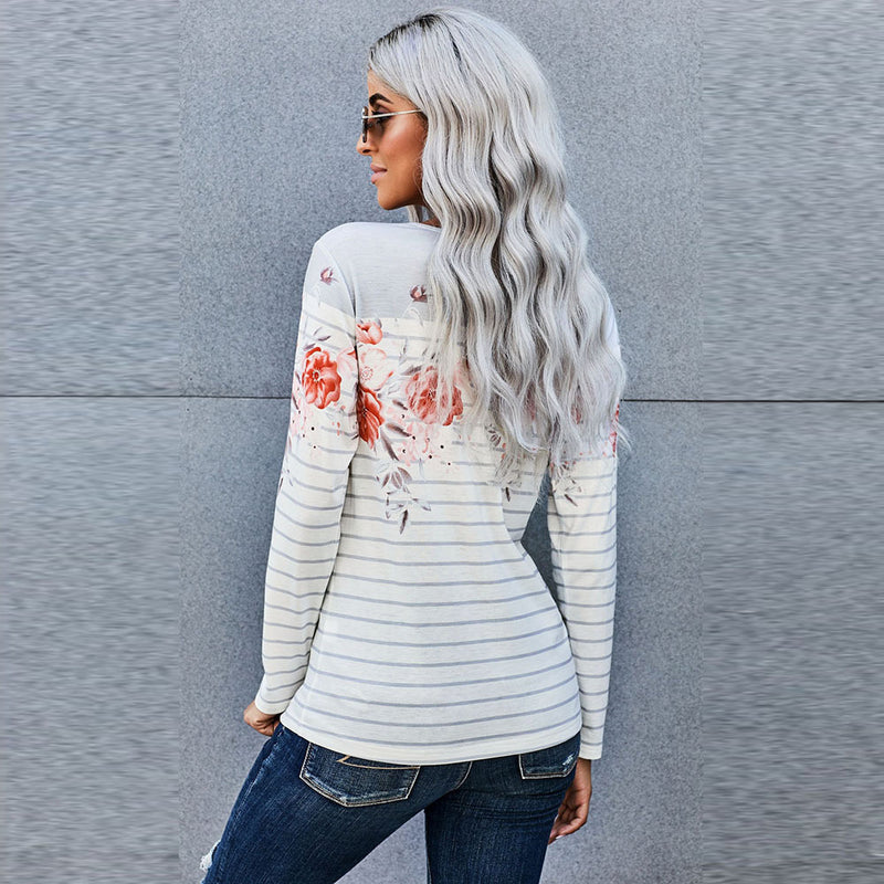 ARANLA Floral Print Stitching Long Sleeve T-shirt