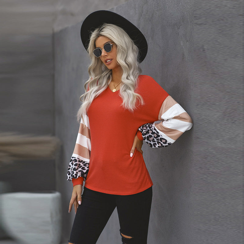 ARANLA Solid Color Stitching Long-sleeved Loose T-shirt