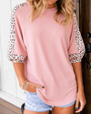 Aranla Pink O Neck Patch Leopard Top