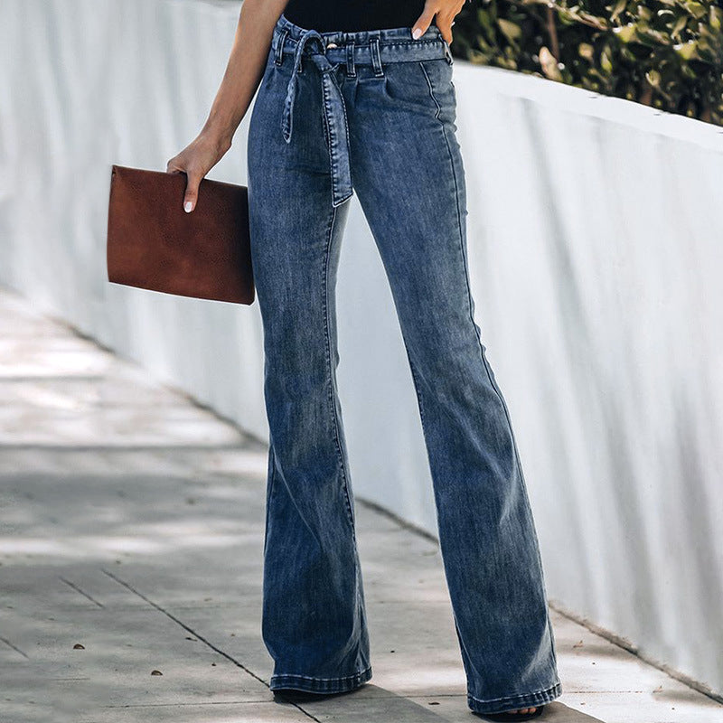 ARANLA High Waist Bowknot Long Jeans Pants