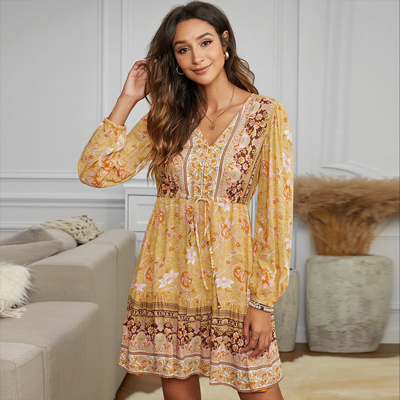 ARANLA Long Sleeve Boho Dress