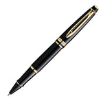 Waterman Expert Black Lacquer 23k Gold Trim Rollerball Pen
