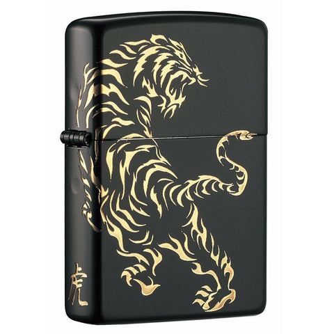 Zippo Custom Black & Gold Tiger Lighter