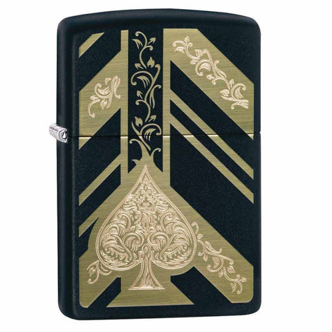 Zippo Black Matte Ace of Spades Lighter