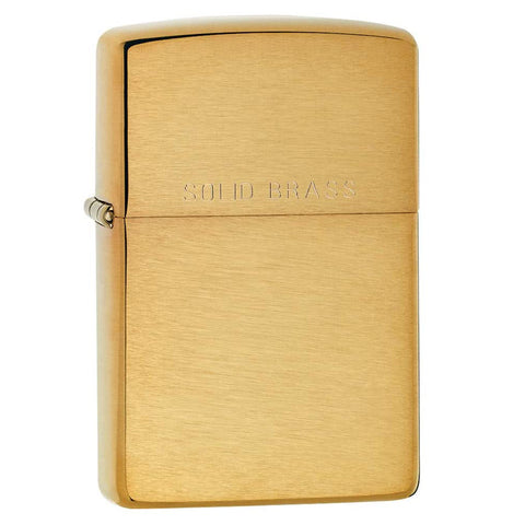 Zippo Brushed Solid Brass Engraved Lighter