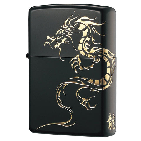 Zippo Custom Black & Gold Dragon Lighter
