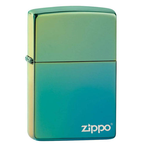 Zippo High Polish Teal Logo Lighter