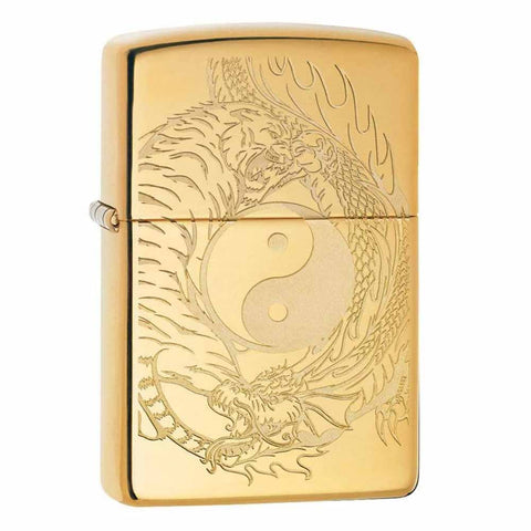 Zippo Tiger Dragon Polished Brass Lighter