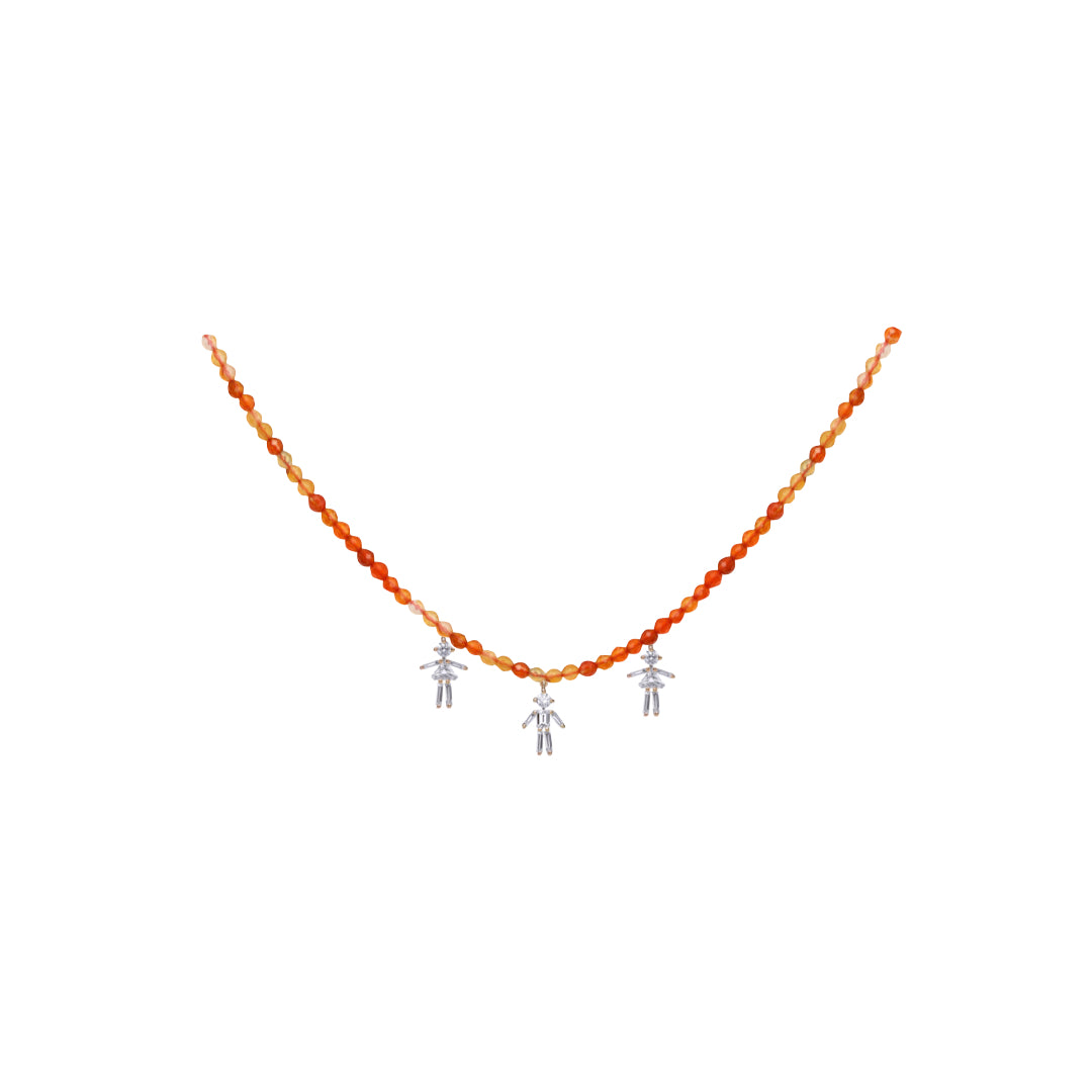 Diamonds and 18Kt yellow / rose / white gold triple mixed boy - girl - boy rainbow necklace
