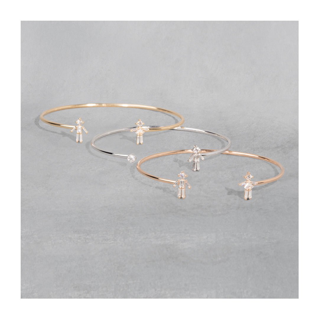 Jonc double mixte or jaune / rose / blanc 18Kt et diamants