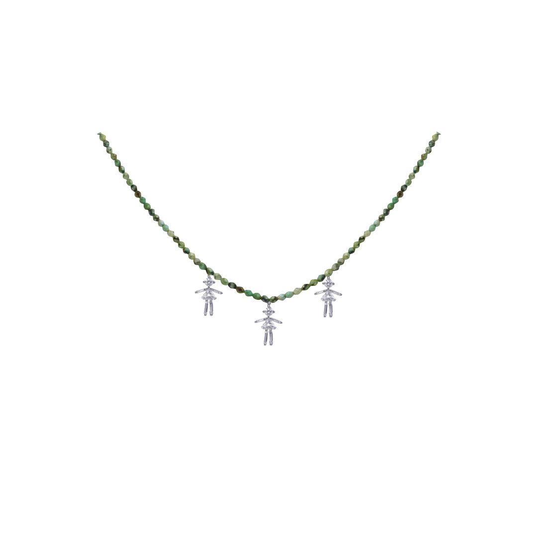 Collier rainbow triple filles or jaune / rose / blanc 18Kt et diamants