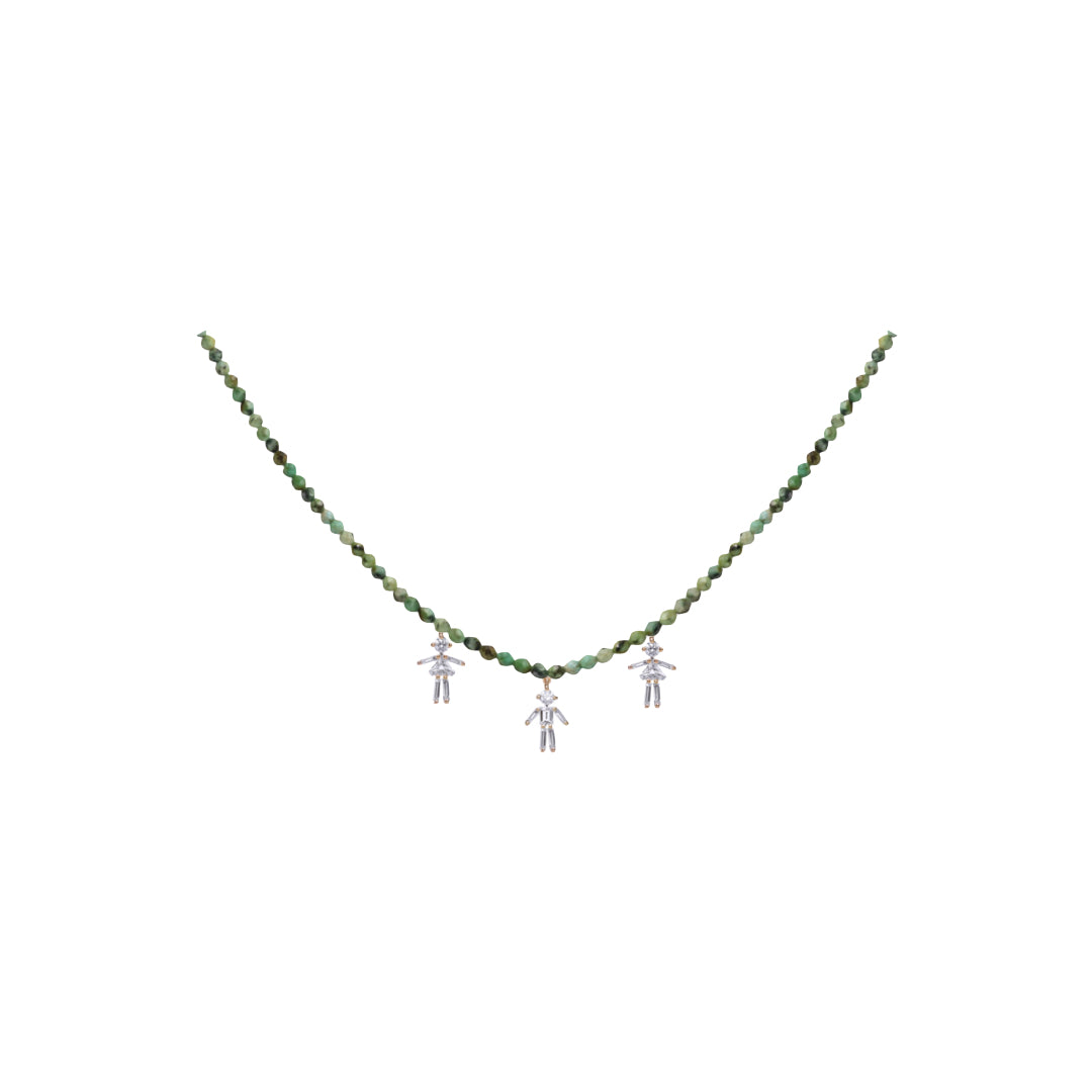 Diamonds and 18Kt yellow / rose / white gold triple mixed girl - boy - girl rainbow necklace