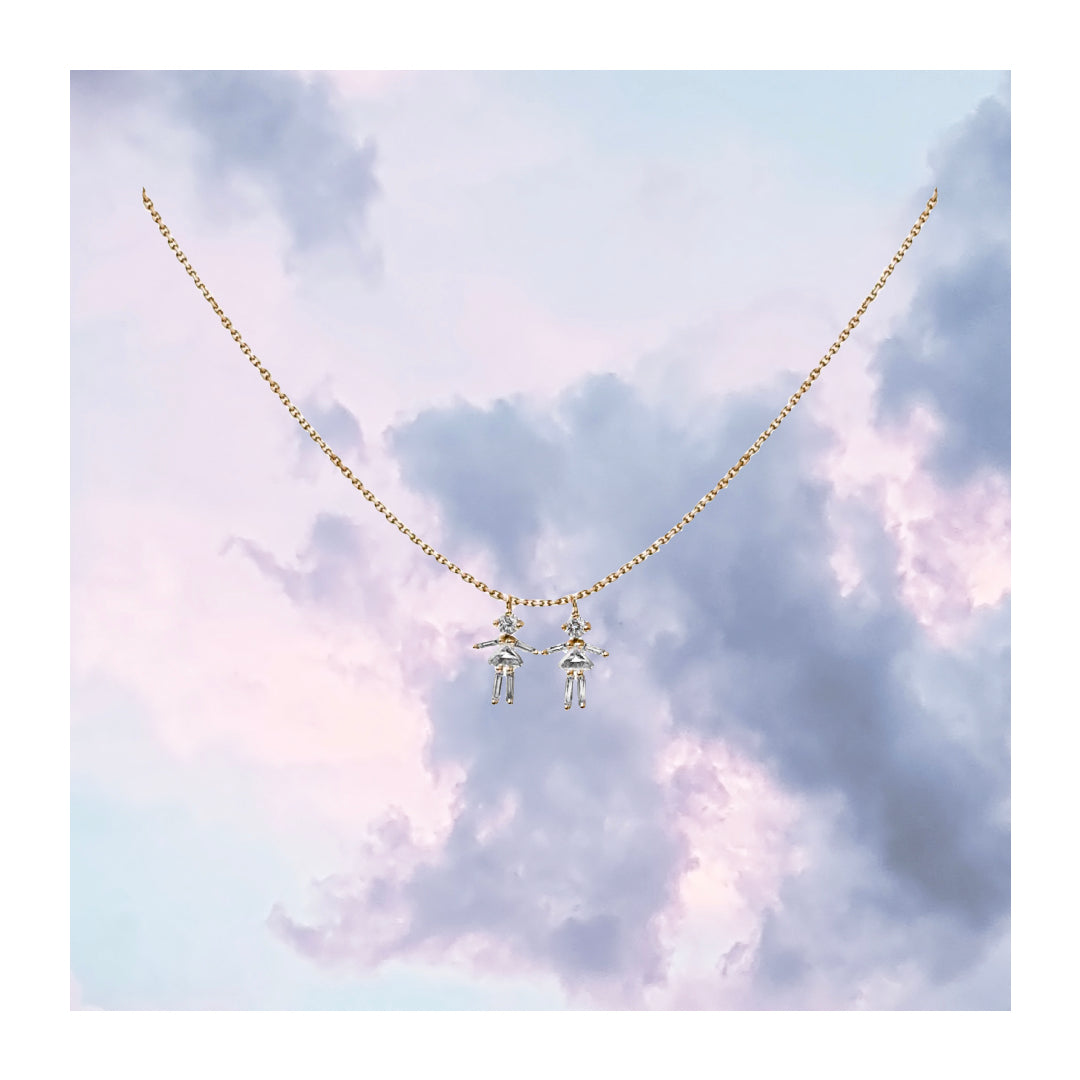 Collier double deux filles or jaune / rose / blanc 18Kt et diamants