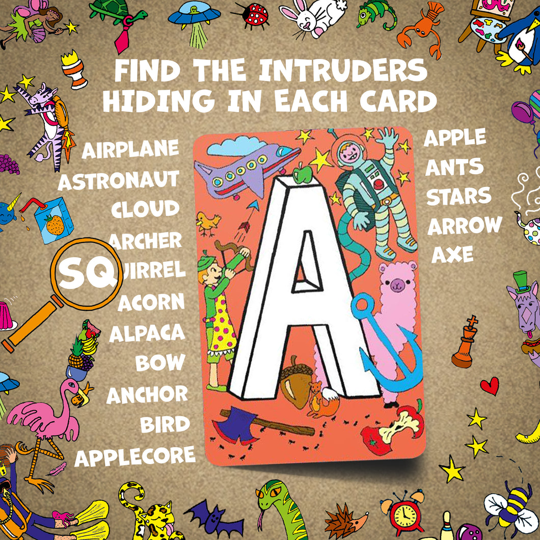 Find the Intruder - Preschool Learning Cards for Toddlers - Colorful Alphabet Flash Cards with Fun Drawings - Toddler ABC Flash Cards for Kids - Find The Intruder Letter Flashcards Gift Set for Boys and Girls