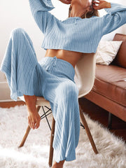 Casual Loose Top Pants Knitted Suit