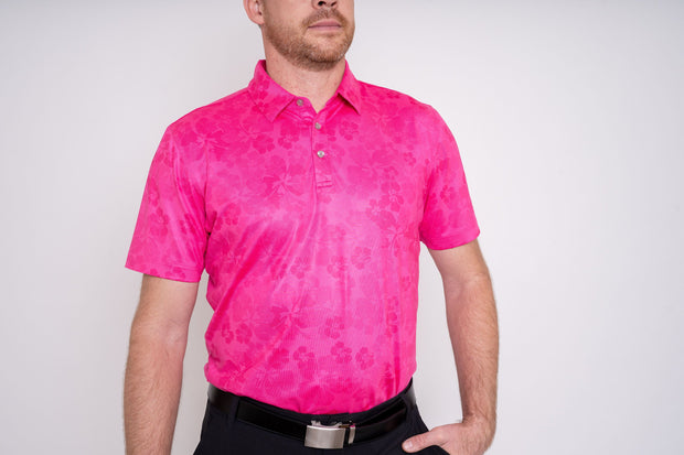 Player's Golf Shirt - Pink Ghost Hibiscus 1