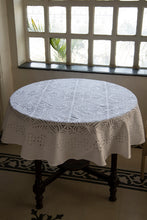 Load image into Gallery viewer, Applique Kachcha Gulkhuddi Table Cover, Cotton, White