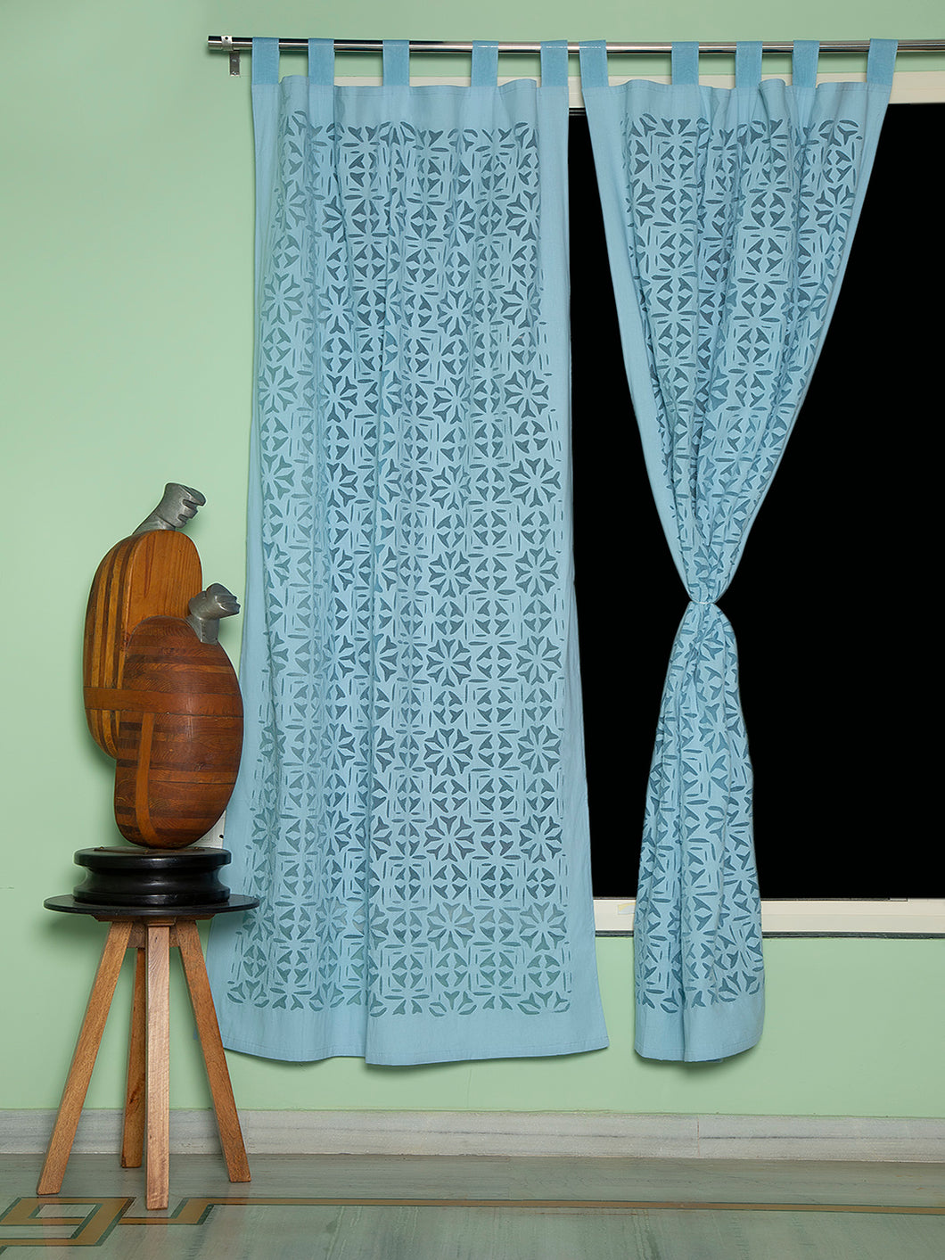 Applique, Handmade Curtains for Door/Window, Full Work Pattern, Baby Blue