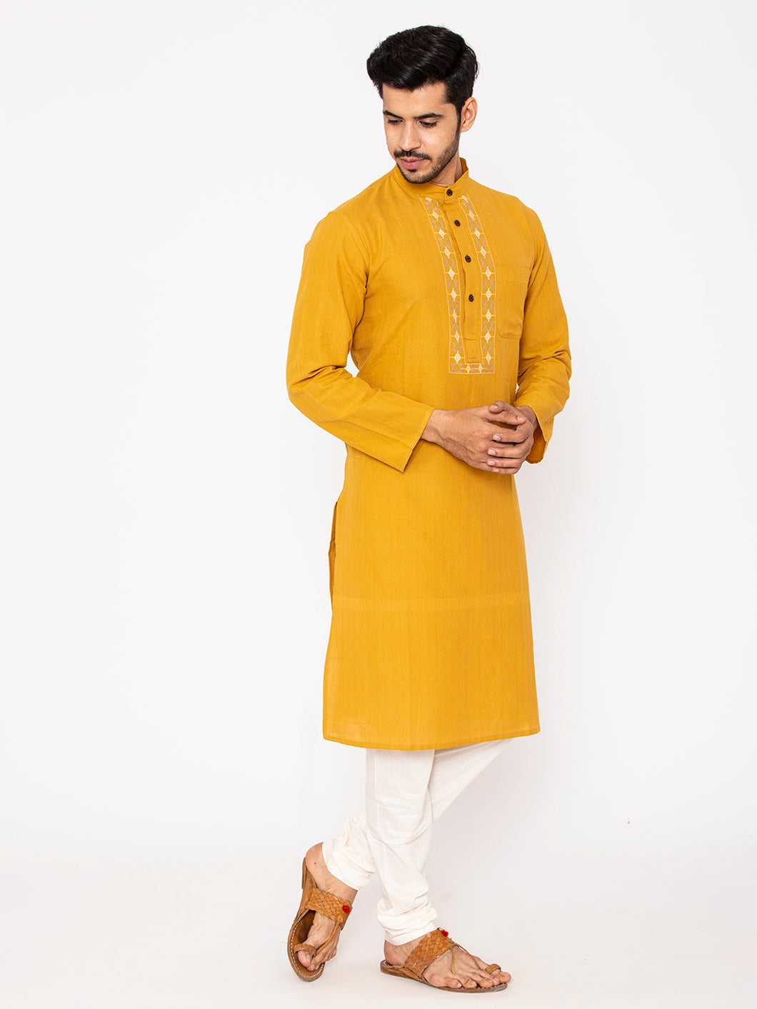 Hand Weaved Kurta, Chinese Collar - Mustard