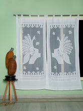Load image into Gallery viewer, Applique, Handmade Curtains for Door/Window, Peacock Pattern, White
