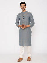 Load image into Gallery viewer, Hand Weaved Kurta, Chinese Collar-Pegion