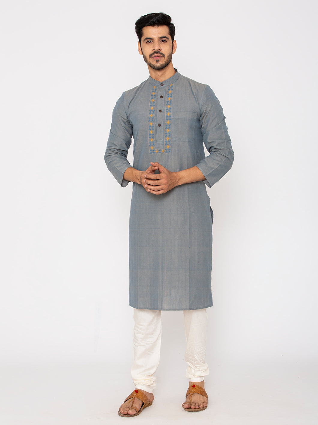 Hand Weaved Kurta, Chinese Collar-Pegion