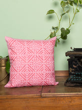 Load image into Gallery viewer, Applique, Handmade Cushion Cover, Diamond Design, Baby Pink
