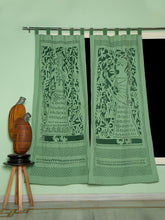 Load image into Gallery viewer, Applique, Handmade Curtains for Door/Window, King-Queen Pattern, Green