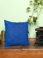 Load image into Gallery viewer, Applique, Handmade Cushion Cover, Ankuddiya Design, Blue