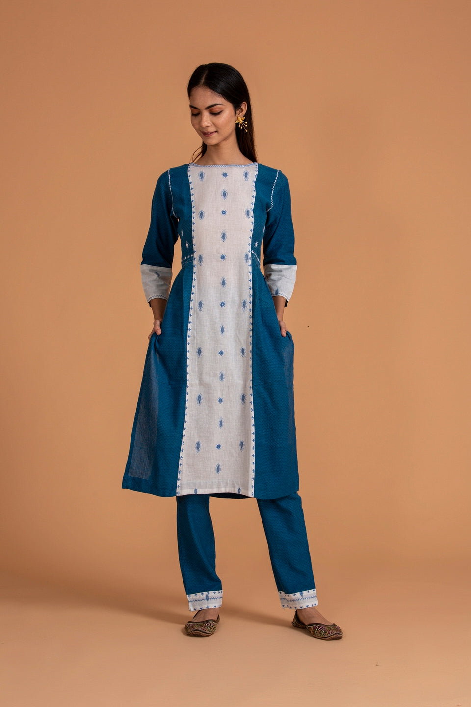Ruma Devi Collection - Panelled Kurti with Trouser Pants