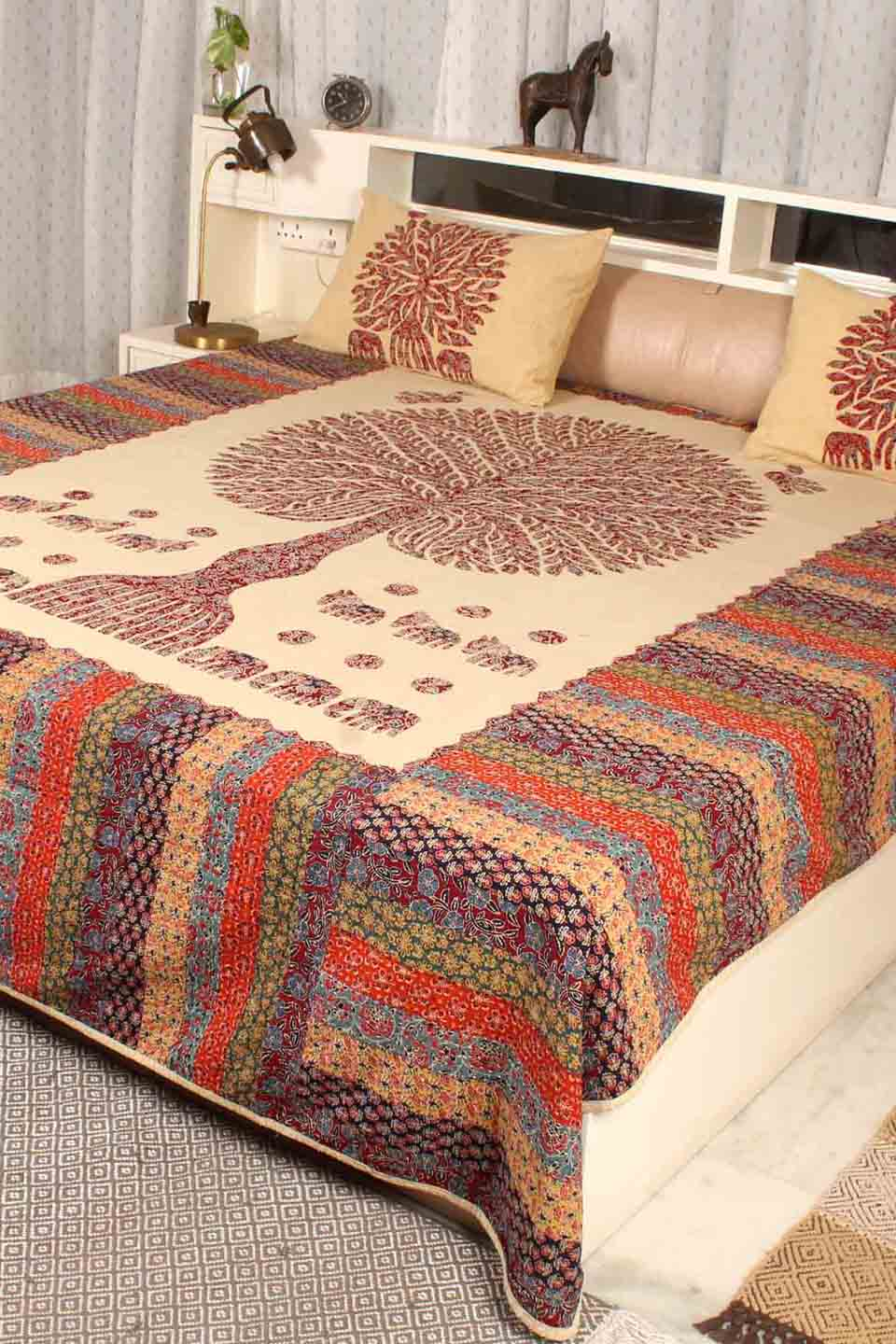 Tree of Life Bedcover, Maroon Color with Beige Base
