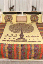 Load image into Gallery viewer, Tree of Life Bedcover Blue Color with Lemon Base