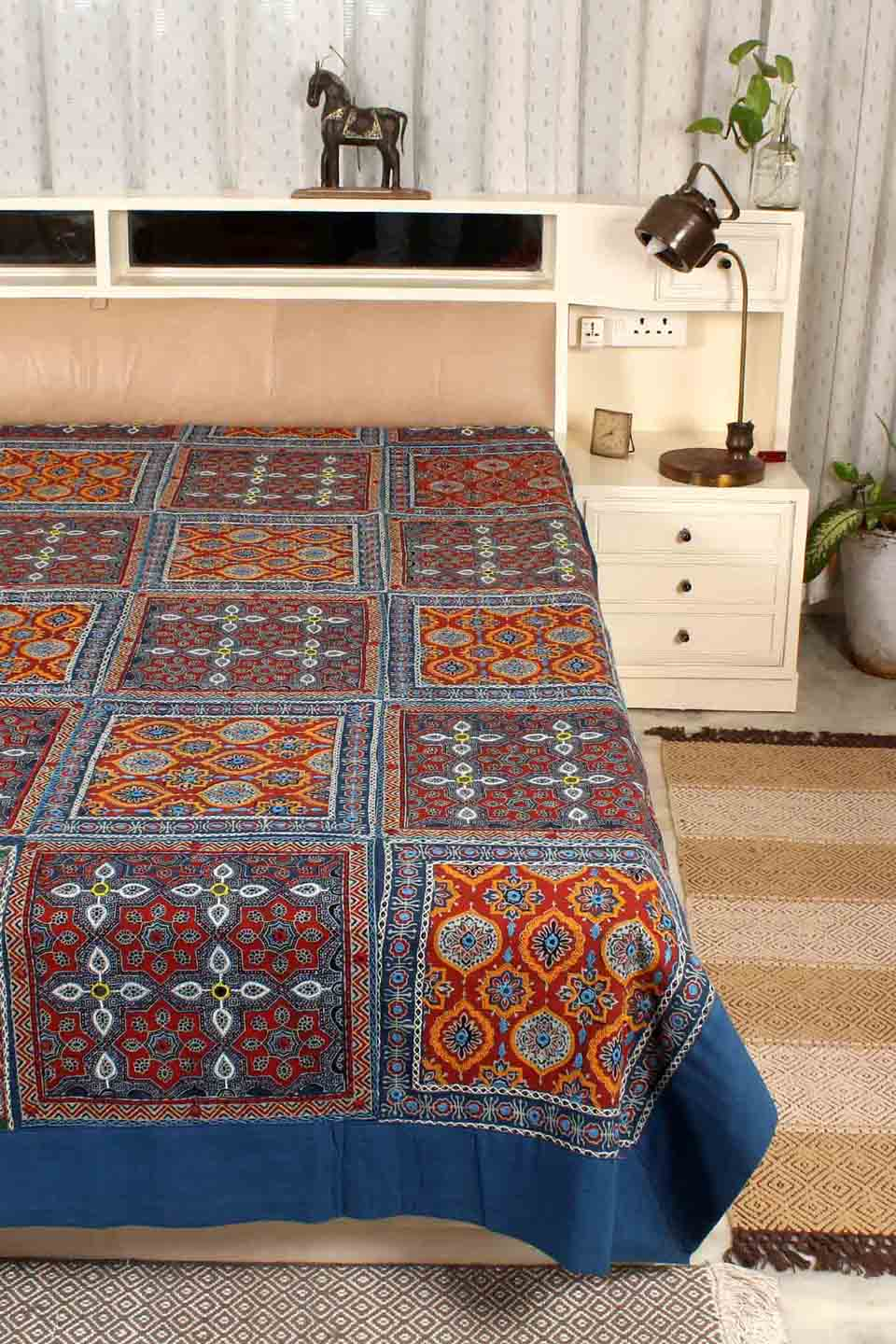 Ajrak Embroidery Bedcover, Blue