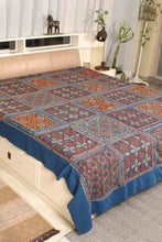 Load image into Gallery viewer, Ajrak Embroidery Bedcover, Blue
