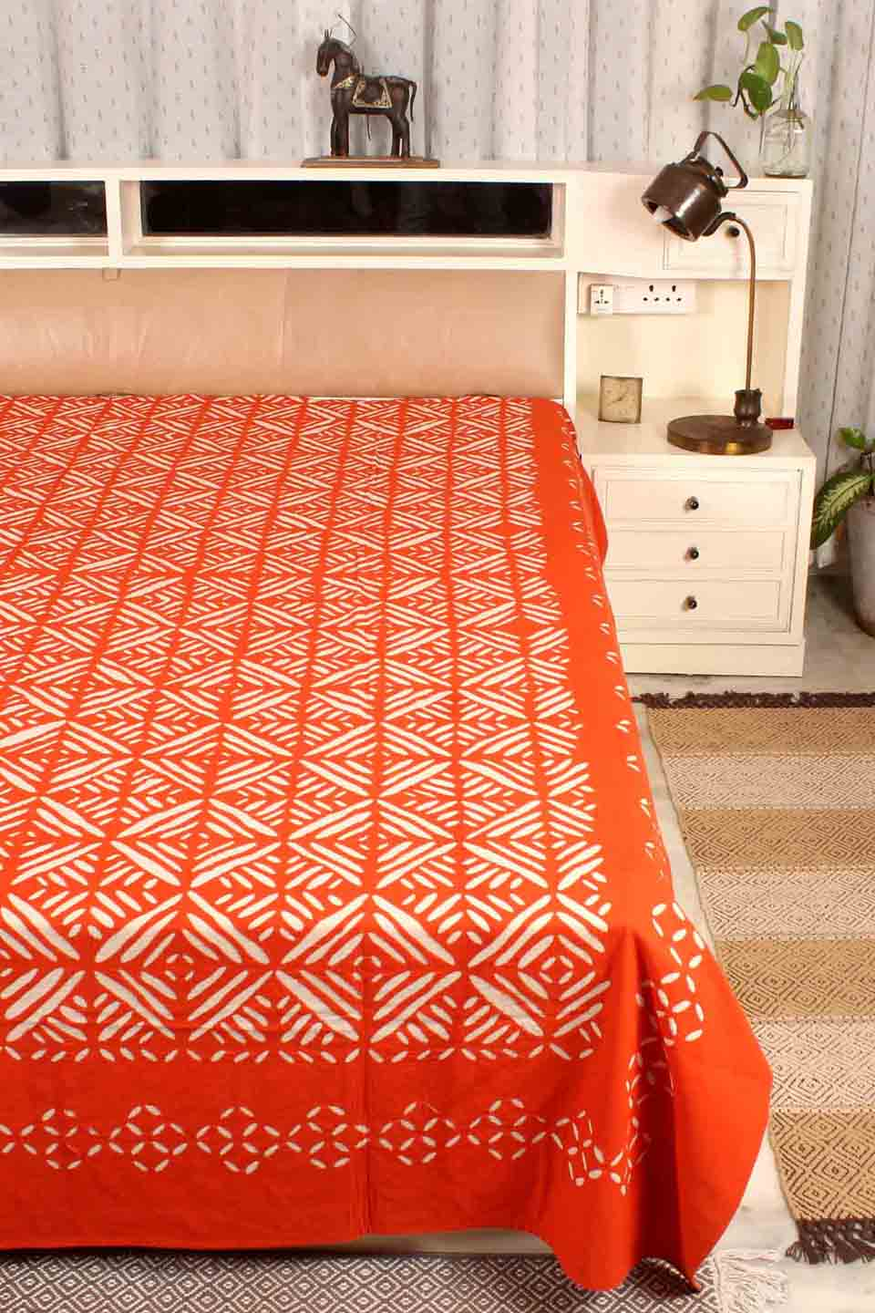Applique Grey Bedcover, Orange