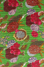 Load image into Gallery viewer, Flower Print Kantha Bedcover, Green