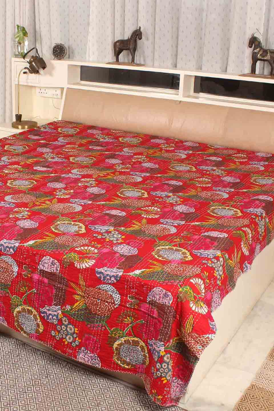 Flower Print Kantha Bedcover, Red