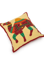 Load image into Gallery viewer, Camel Patch Work Cushion Cover, 16 x16 inches, Mehroon