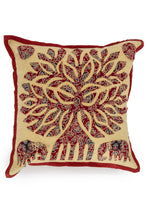 Load image into Gallery viewer, Tree of life Patch work, Jogi Cushion Cover,Mehroon