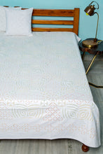 Load image into Gallery viewer, Applique Grey Design with Kantha Bedcover, White Color