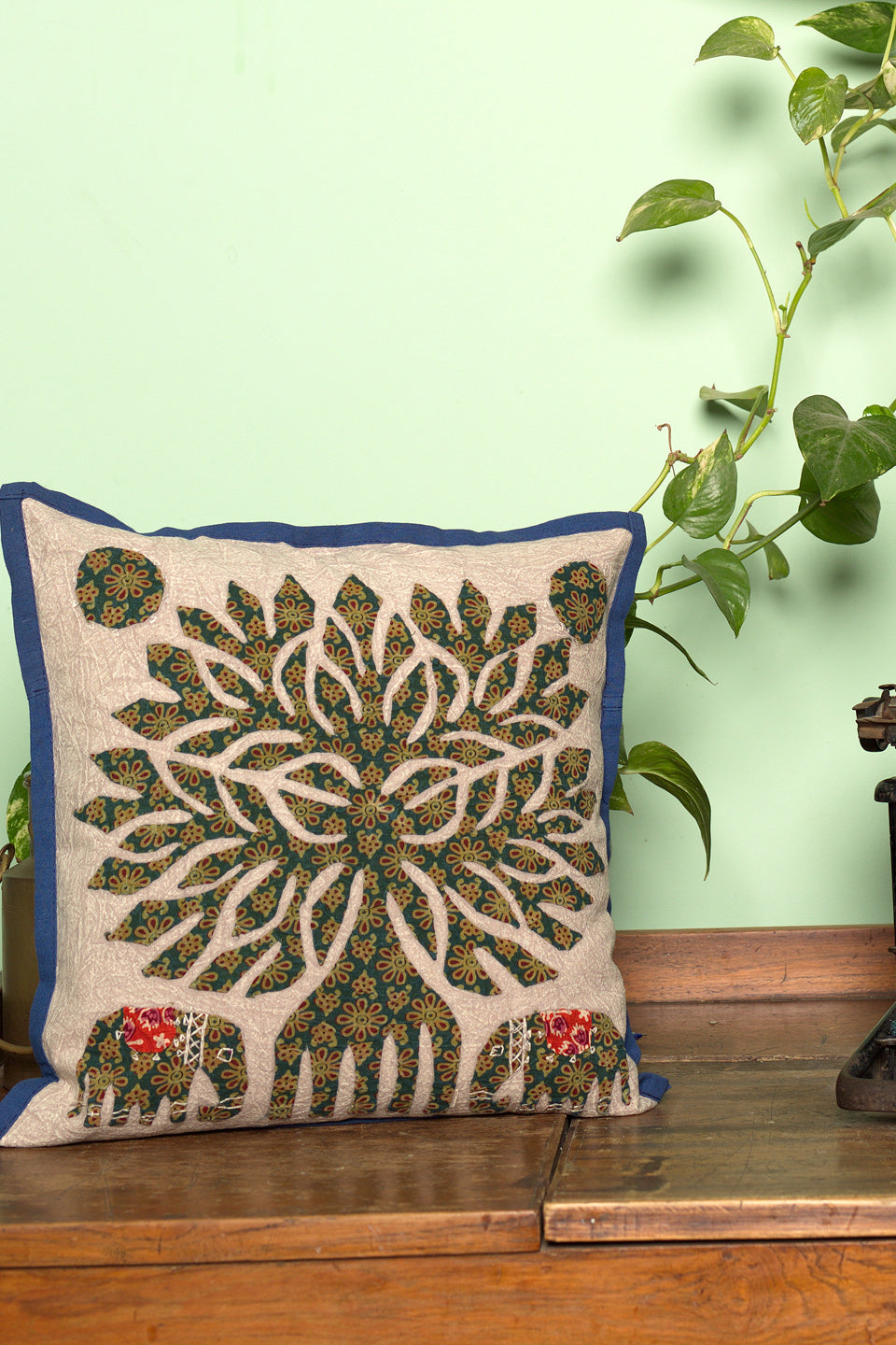 Tree of life Patch work, Jogi Cushion Cover, Dark Green